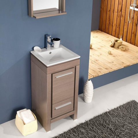 Image of Fresca Allier 15.75 Inch Gray Oak Modern Bathroom Vanity w/ Mirror