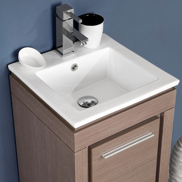 Fresca Allier 15.75 Inch Gray Oak Modern Bathroom Vanity w/ Mirror