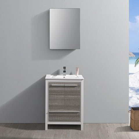 Fresca Allier Rio 23.5 Inch Ash Gray Modern Bathroom Vanity with Medicine Cabinet