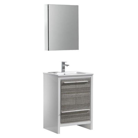 Image of Fresca Allier Rio 23.5 Inch Ash Gray Modern Bathroom Vanity with Medicine Cabinet