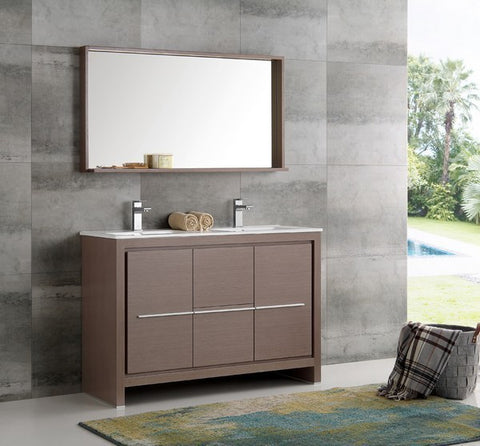 Image of Fresca Allier 47.25 Inch Gray Oak Modern Double Sink Bathroom Vanity with Mirror