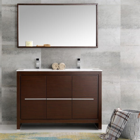 Image of Fresca Allier 47.25 Inch Wenge Brown Modern Double Sink Bathroom Vanity with Mirror