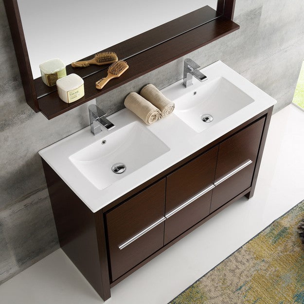 Fresca Allier 47.25 Inch Wenge Brown Modern Double Sink Bathroom Vanity with Mirror