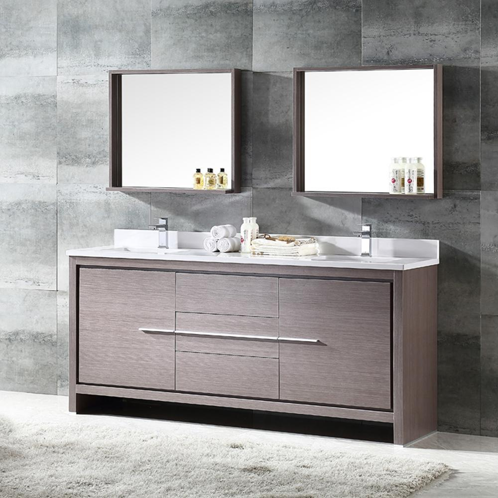 "Fresca Allier 72"" Gray Oak Modern Double Sink Bathroom Vanity w/ Mirror"