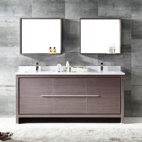 "Image of Fresca Allier 72"" Gray Oak Modern Double Sink Bathroom Vanity w/ Mirror"