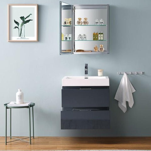 "Image of Fresca Valencia 24"" Dark Slate Gray Wall Hung Modern Bathroom Vanity with Medicine Cabinet"