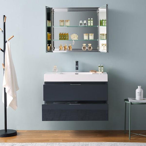 "Image of Fresca Valencia 36"" Dark Slate Gray Wall Hung Modern Bathroom Vanity with Medicine Cabinet"