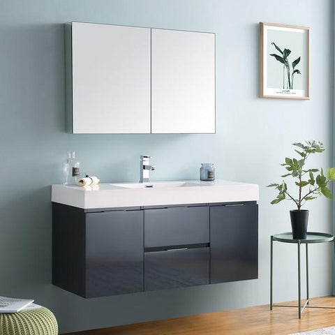 "Image of Fresca Valencia 48"" Dark Slate Gray Wall Hung Modern Bathroom Vanity with Medicine Cabinet"
