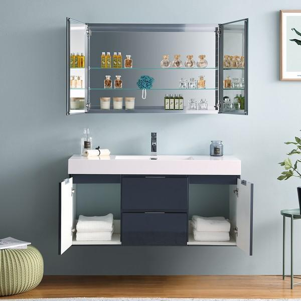 "Fresca Valencia 48"" Dark Slate Gray Wall Hung Modern Bathroom Vanity with Medicine Cabinet"