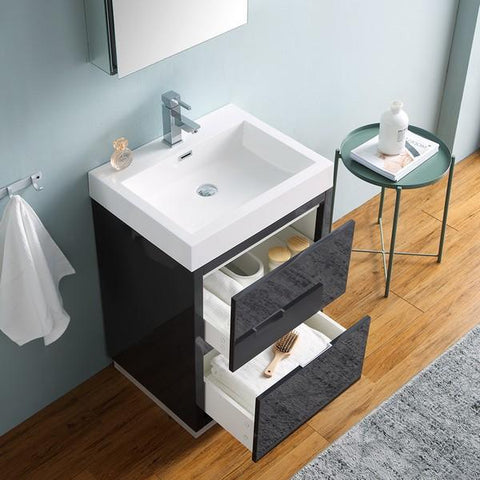 "Image of Fresca Valencia 24"" Dark Slate Gray Free Standing Modern Bathroom Vanity with Medicine Cabinet"