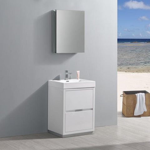 "Image of Fresca Valencia 24"" Glossy White Free Standing Modern Bathroom Vanity with Medicine Cabinet"