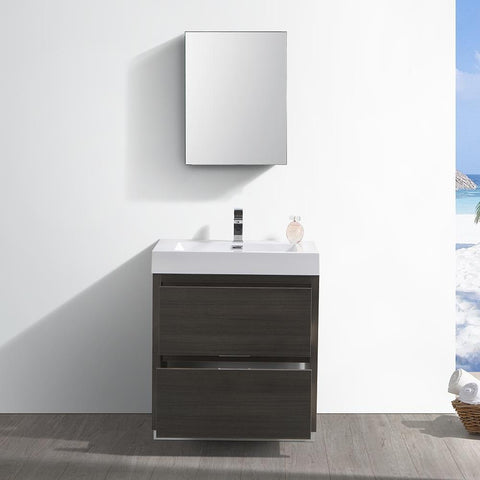 "Image of Fresca Valencia 30"" Gray Oak Free Standing Modern Bathroom Vanity with Medicine Cabinet"