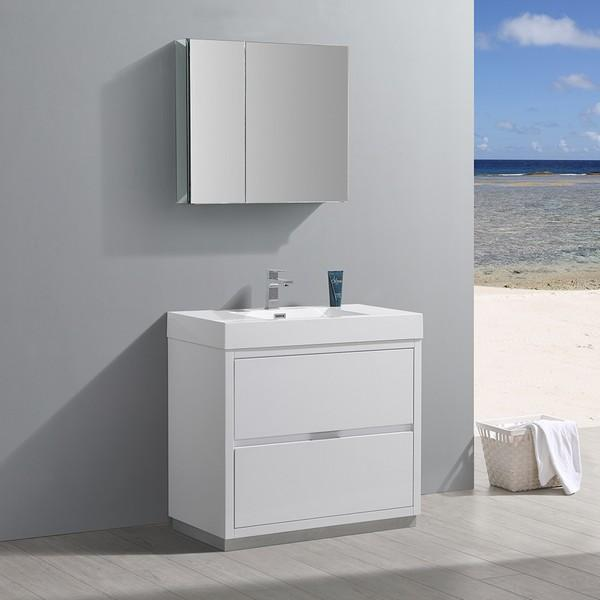 "Fresca Valencia 36"" Glossy White Free Standing Modern Bathroom Vanity with Medicine Cabinet"