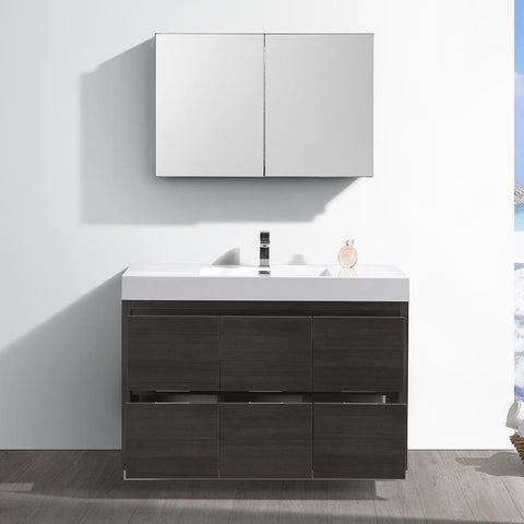 "Image of Fresca Valencia 48"" Gray Oak Free Standing Modern Bathroom Vanity with Medicine Cabinet"
