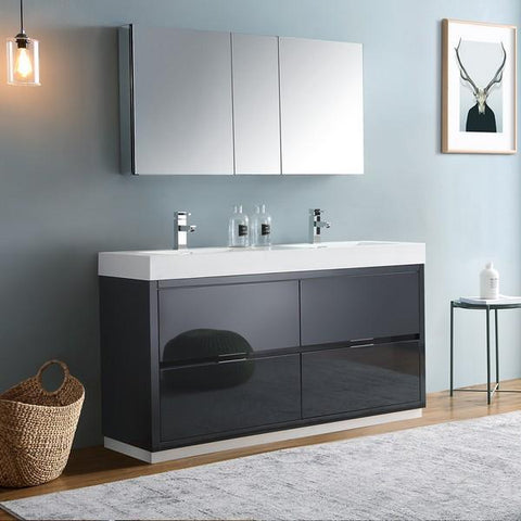"Image of Fresca Valencia 60"" Dark Slate Gray Free Standing Double Sink Modern Bathroom Vanity with Medicine Cabinet"