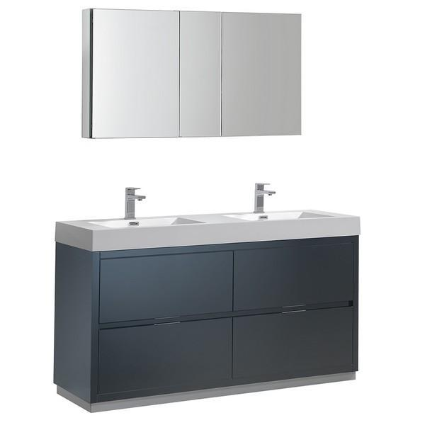 "Fresca Valencia 60"" Dark Slate Gray Free Standing Double Sink Modern Bathroom Vanity with Medicine Cabinet"