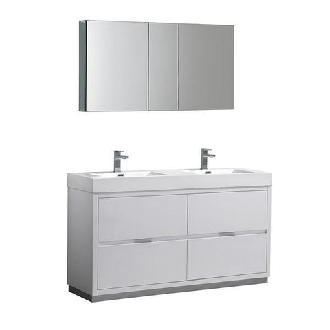 "Fresca Valencia 60"" Glossy White Free Standing Double Sink Modern Bathroom Vanity with Medicine Cabinet"