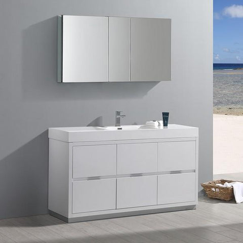 "Image of Fresca Valencia 60"" Glossy White Free Standing Modern Bathroom Vanity with Medicine Cabinet"