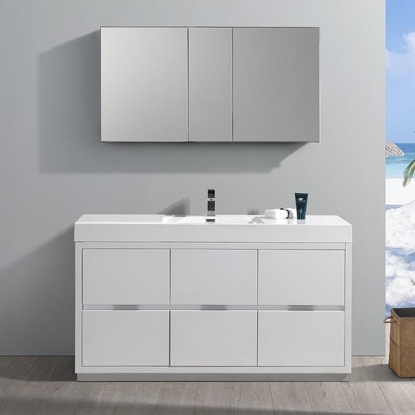 "Fresca Valencia 60"" Glossy White Free Standing Modern Bathroom Vanity with Medicine Cabinet"