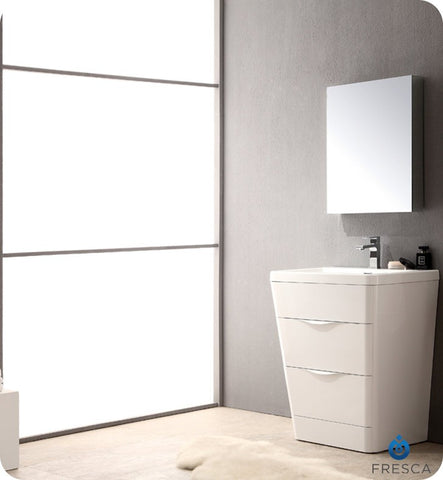 Image of Fresca Milano 25.5 Inch Glossy White Modern Bathroom Vanity w/ Medicine Cabinet