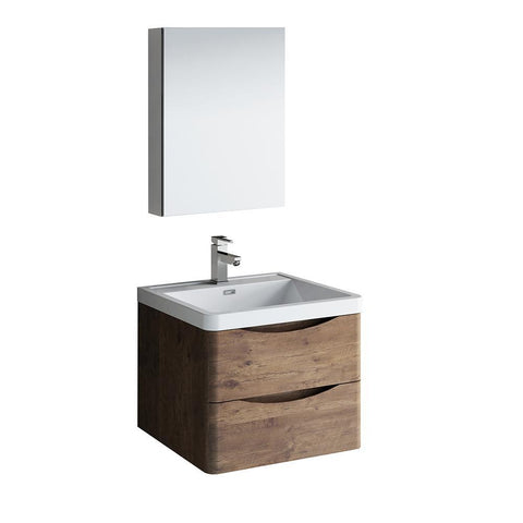 "Image of Fresca Tuscany 24"" Rosewood Wall Hung Modern Bathroom Vanity w/ Medicine Cabinet"