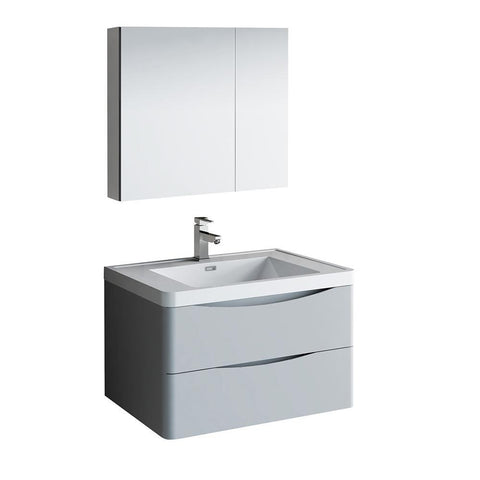 "Image of Fresca Tuscany 32"" Glossy Gray Wall Hung Modern Bathroom Vanity w/ Medicine Cabinet"