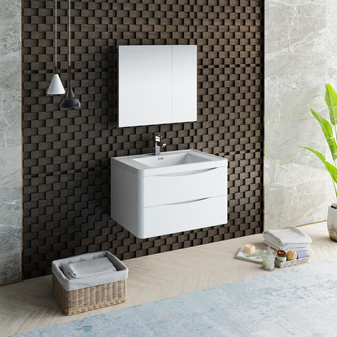 "Image of Fresca Tuscany 32"" Glossy White Wall Hung Modern Bathroom Vanity w/ Medicine Cabinet"