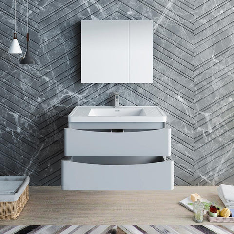 "Image of Fresca Tuscany 36"" Glossy Gray Wall Hung Modern Bathroom Vanity w/ Medicine Cabinet"