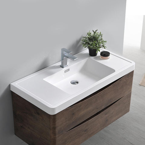 "Image of Fresca Tuscany 36"" Rosewood Wall Hung Modern Bathroom Vanity w/ Medicine Cabinet"
