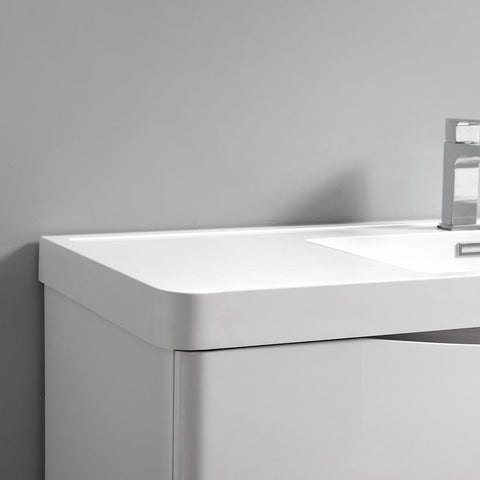 "Image of Fresca Tuscany 36"" Glossy White Wall Hung Modern Bathroom Vanity w/ Medicine Cabinet"