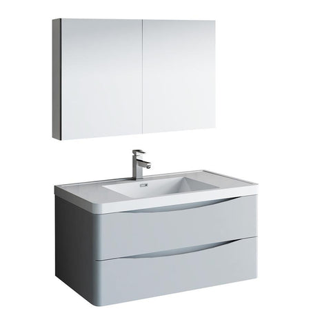 "Image of Fresca Tuscany 40"" Glossy Gray Wall Hung Modern Bathroom Vanity w/ Medicine Cabinet"