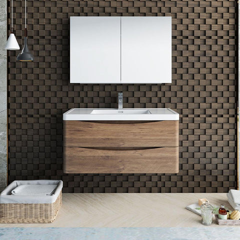 "Image of Fresca Tuscany 40"" Rosewood Wall Hung Modern Bathroom Vanity w/ Medicine Cabinet"