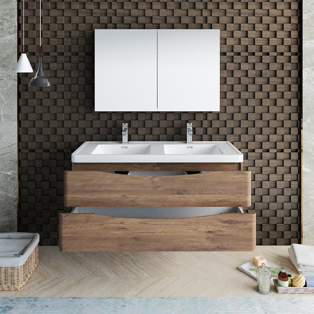 "Fresca Tuscany 48"" Rosewood Wall Hung Double Sink Modern Bathroom Vanity w/ Medicine Cabinet"