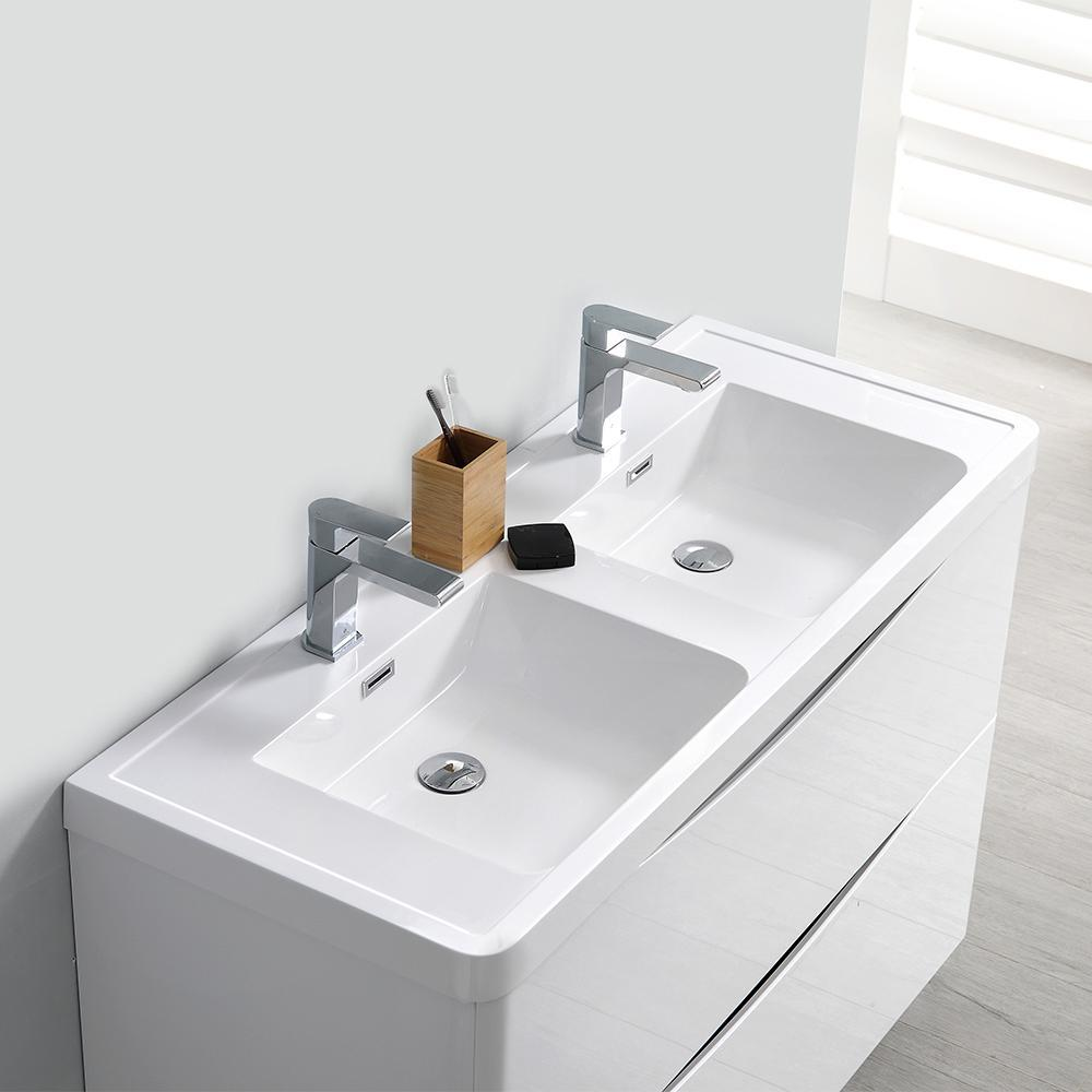 "Fresca Tuscany 48"" Glossy White Wall Hung Double Sink Modern Bathroom Vanity w/ Medicine Cabinet"