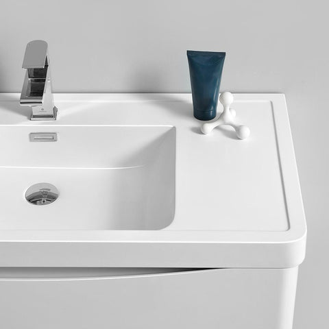 "Image of Fresca Tuscany 48"" Glossy White Wall Hung Double Sink Modern Bathroom Vanity w/ Medicine Cabinet"