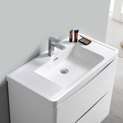 "Image of Fresca Tuscany 32"" Glossy White Free Standing Modern Bathroom Vanity w/ Medicine Cabinet"