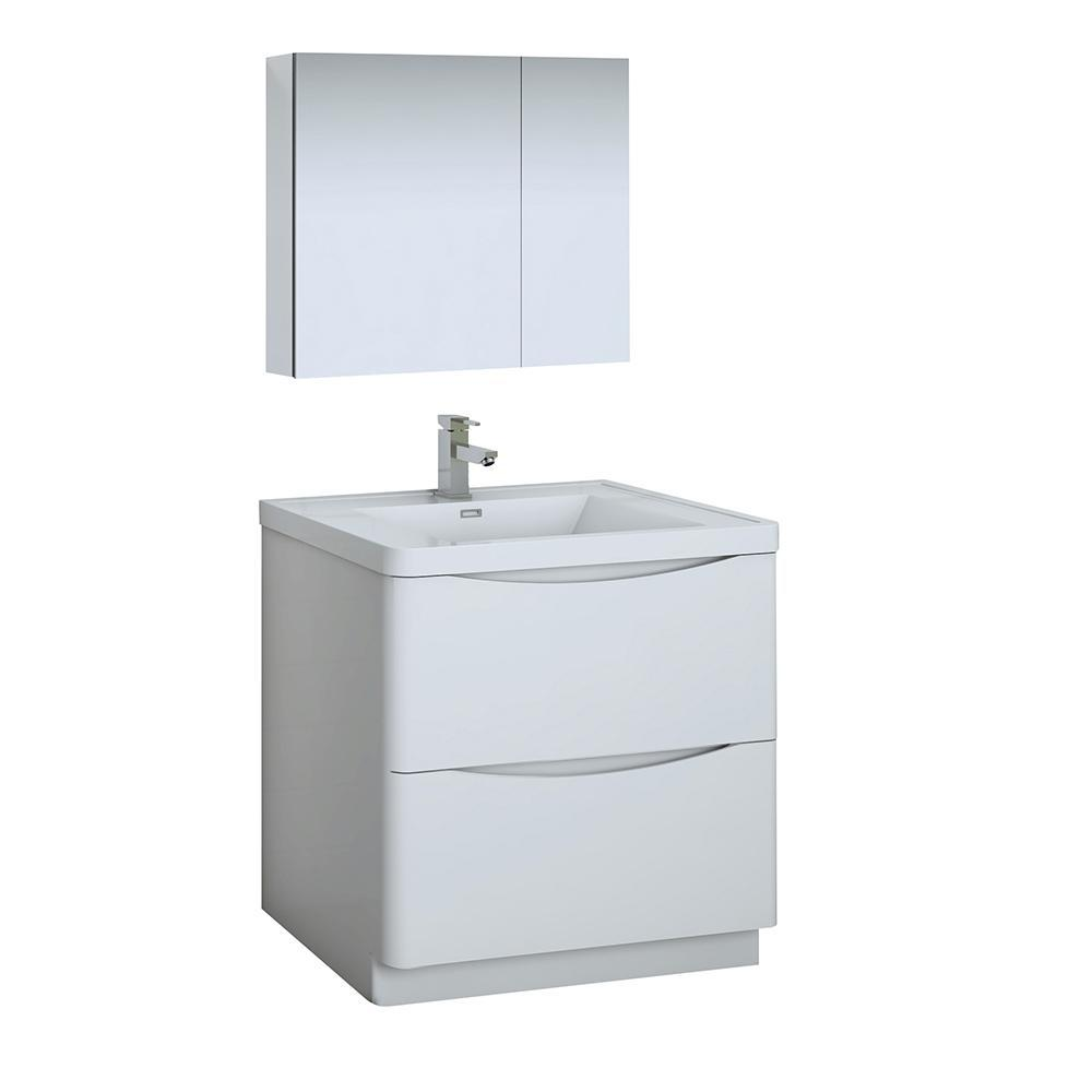 "Fresca Tuscany 32"" Glossy White Free Standing Modern Bathroom Vanity w/ Medicine Cabinet"