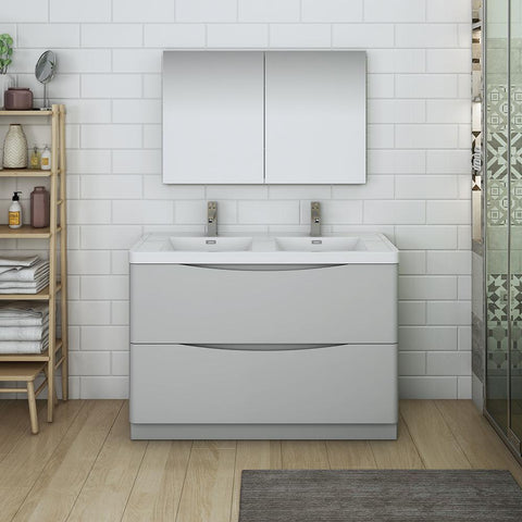 "Fresca Tuscany 48"" Glossy Gray Free Standing Double Sink Modern Bathroom Vanity w/ Medicine Cabinet"