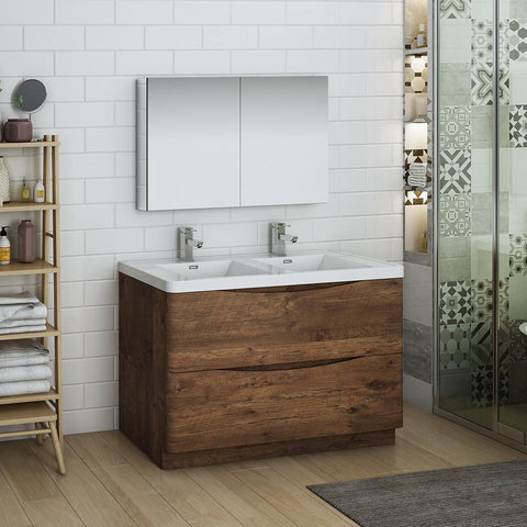 "Fresca Tuscany 48"" Rosewood Free Standing Double Sink Modern Bathroom Vanity w/ Medicine Cabinet"