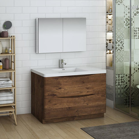 "Fresca Tuscany 48"" Rosewood Free Standing Modern Bathroom Vanity w/ Medicine Cabinet"
