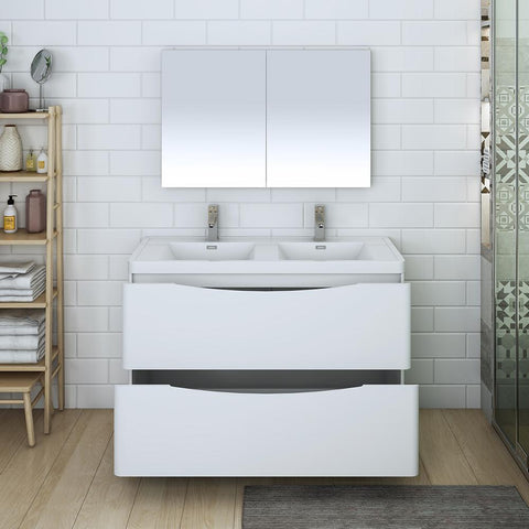 "Fresca Tuscany 48"" Glossy White Free Standing Double Sink Modern Bathroom Vanity w/ Medicine Cabinet"