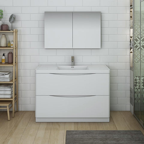 "Fresca Tuscany 48"" Glossy White Free Standing Modern Bathroom Vanity w/ Medicine Cabinet"