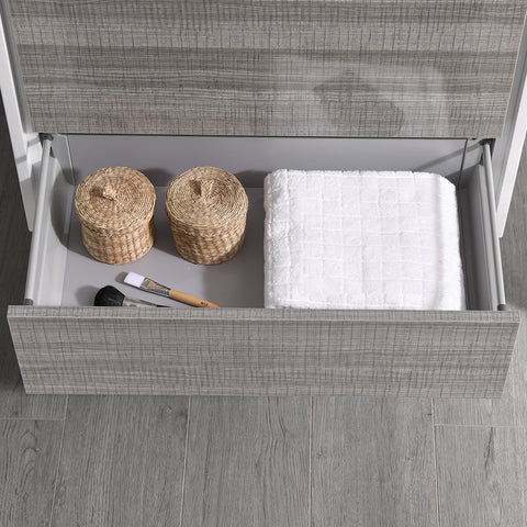 "Image of Fresca Catania 36"" Glossy Ash Gray Wall Hung Modern Bathroom Vanity w/ Medicine Cabinet"