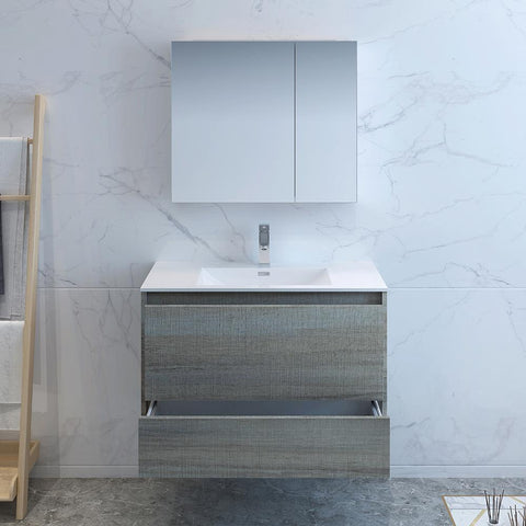 "Image of Fresca Catania 36"" Ocean Gray Wall Hung Modern Bathroom Vanity w/ Medicine Cabinet"