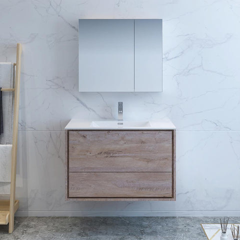 "Fresca Catania 36"" Rustic Natural Wood Wall Hung Modern Bathroom Vanity w/ Medicine Cabinet"