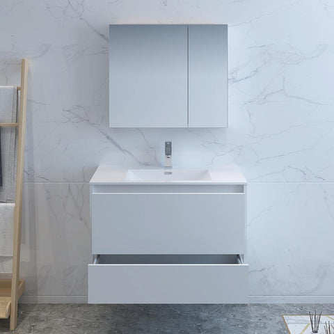 "Image of Fresca Catania 36"" Glossy White Wall Hung Modern Bathroom Vanity w/ Medicine Cabinet"