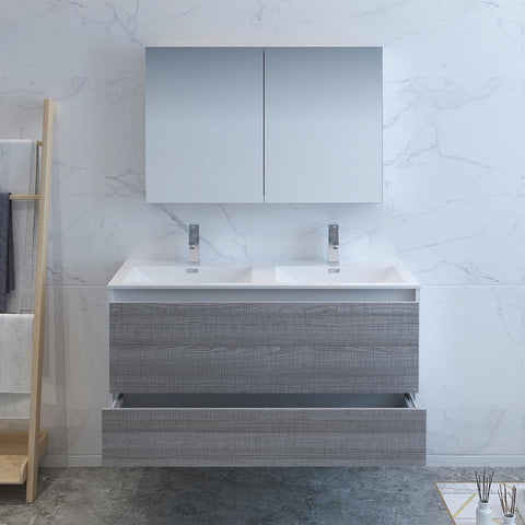 "Image of Fresca Catania 48"" Glossy Ash Gray Wall Hung Double Sink Modern Bathroom Vanity w/ Medicine Cabinet"