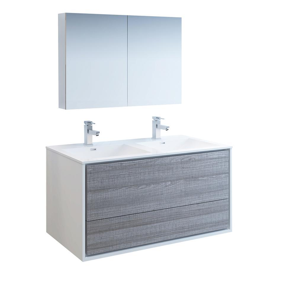 "Fresca Catania 48"" Glossy Ash Gray Wall Hung Double Sink Modern Bathroom Vanity w/ Medicine Cabinet"