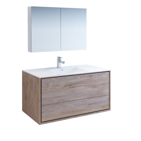 "Fresca Catania 48"" Rustic Natural Wood Wall Hung Modern Bathroom Vanity w/ Medicine Cabinet"