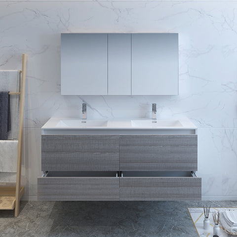 "Image of Fresca Catania 60"" Glossy Ash Gray Wall Hung Double Sink Modern Bathroom Vanity w/ Medicine Cabinet"